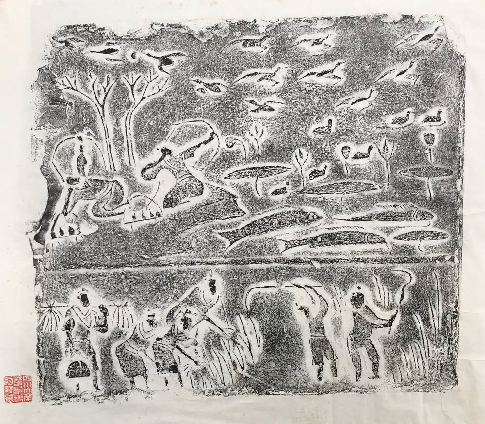 Shooting birds by a lake and harvest scene. Molded pottery tile from the wall of a tomb. Later Han Dynasty. Sichuan Provincial Museum.