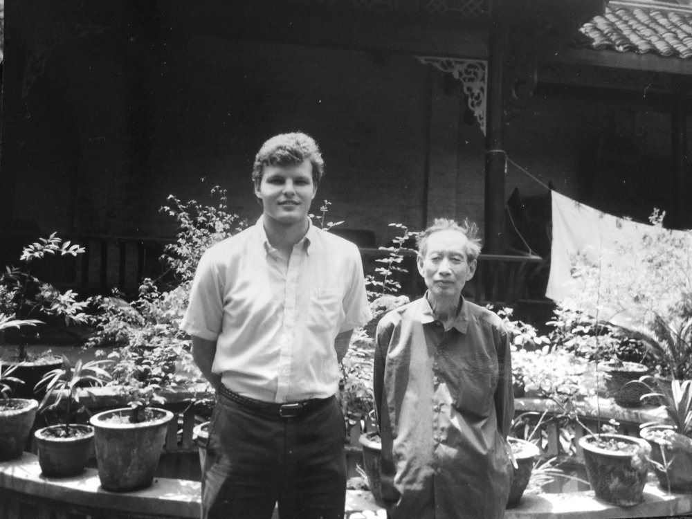 Mark Barnekow with author Ai Wu in Chengdu, Sichuan, 1983