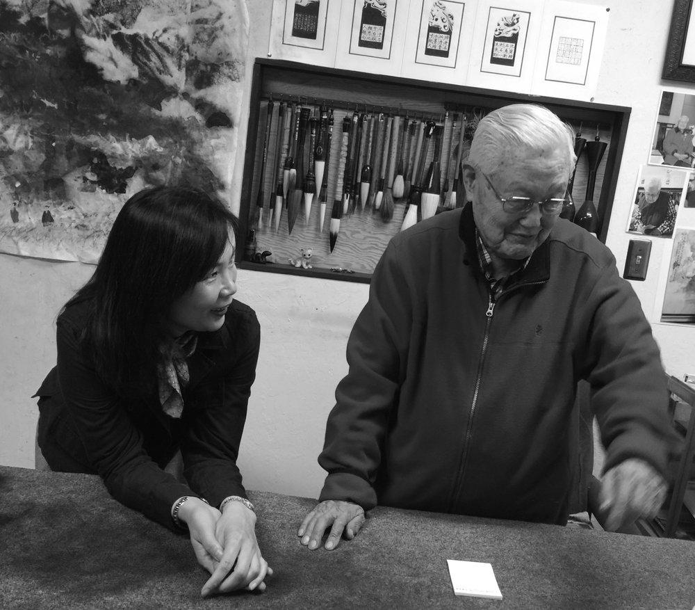 Jean Song with Hou Beiren in his Los Altos, California studio