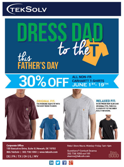 An email blast promoting Father's Day sales in the TekSolv retail store. Graphic design by Jessenia Santiago