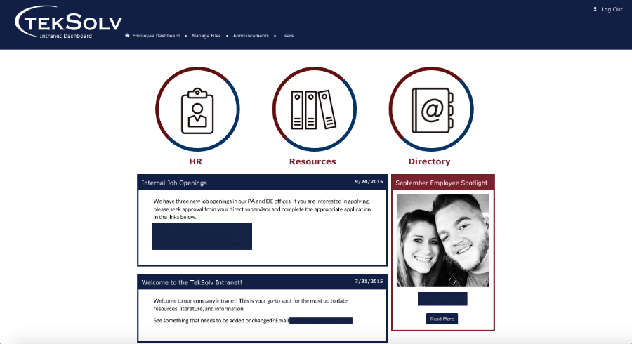 Intranet dashboard for employees to access documents, directories and announcements.