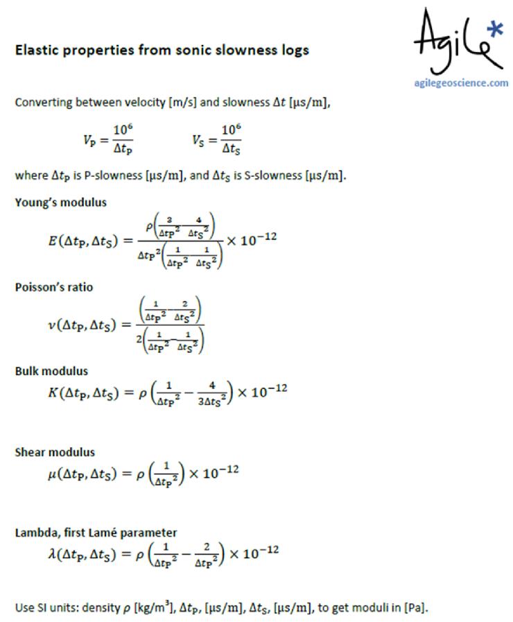 Rock Physics Cheatsheet Agile