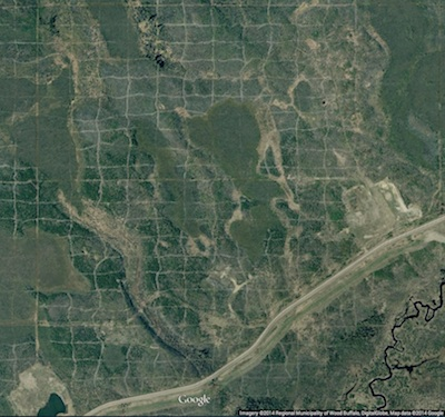 Cutlines for a dense 3D survey at Surmont field, Alberta, Canada. Image: Google Maps.