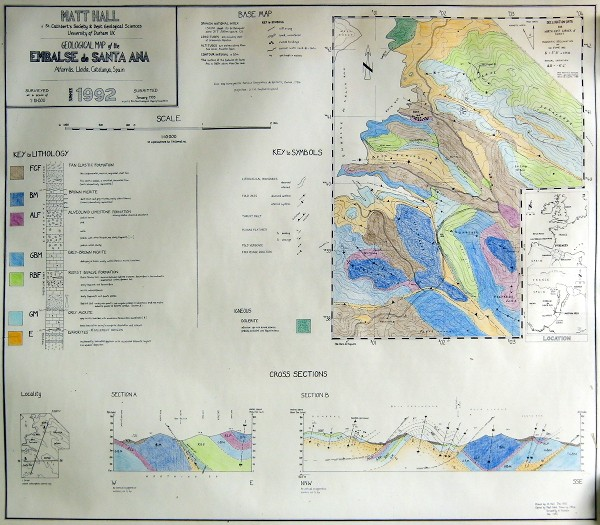 Geological map of the Embaase de Santa Ana, Alfarras, Spain; click to enlarge.
