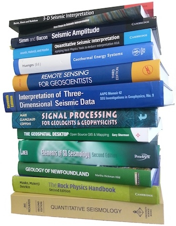 Pile of geophysics books