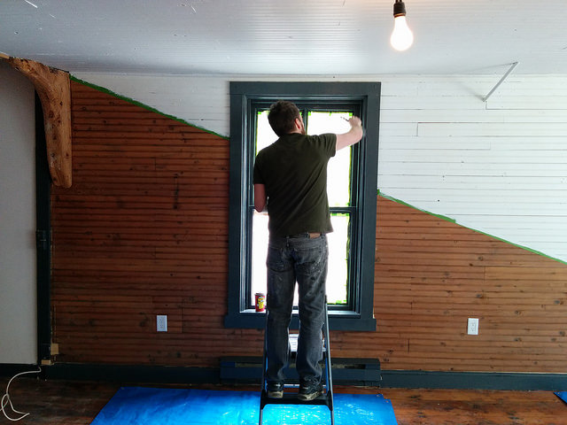Co-founder Dave painting trim