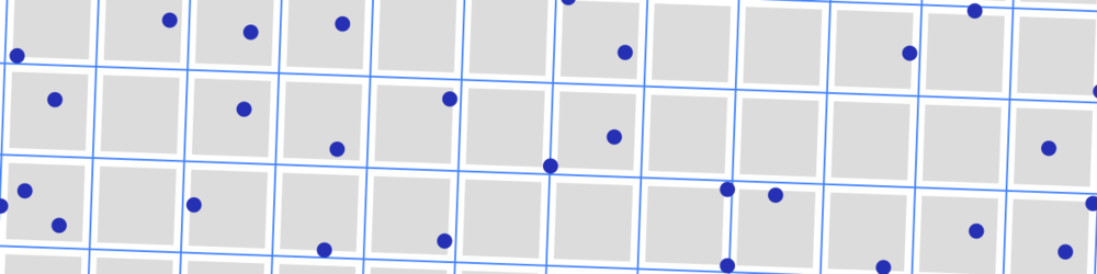 Zoomed-in view of part of my example. A grid of 2D seismic lines, 3 km apart, and randomly distributed features, each 500 m in diameter. If a feature's centre falls inside a grey square, then the feature is not intersected by the data. The grey squares are 2.5 km across.