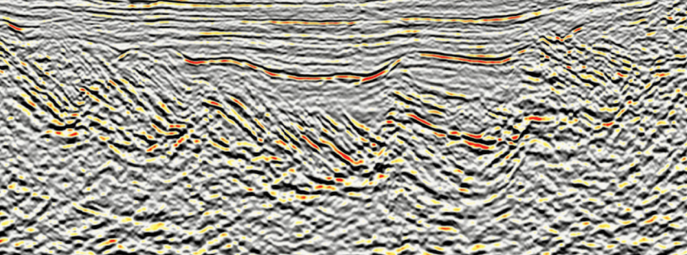 A seismic line from the Browse Basin, offshore western Australia. Data courtesy of  CGG  and the  Virtual Seismic Atlas