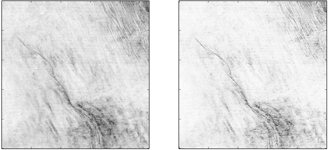 Similarity attribute Displayed using a Greyscale Colourbar (left). Bump mapping of similarity attribute using a lightsource positioned at azimuth 350 degrees, inclination 20 degrees.