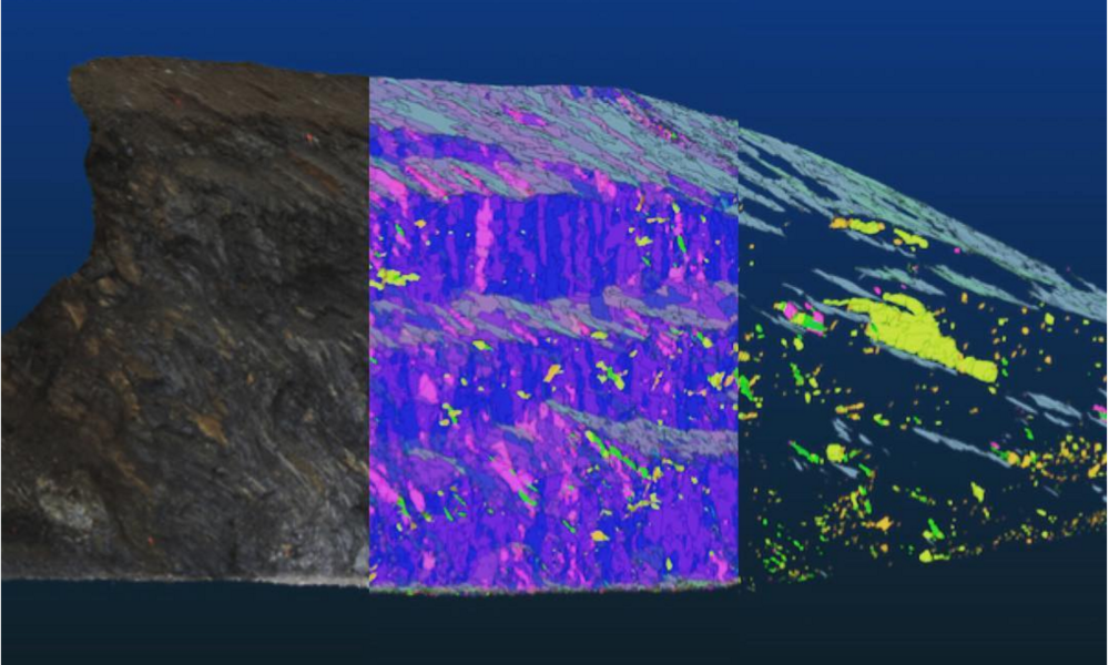 Amazing 3D images generated from a large number of 2D images of outcrop. LEft: the natural colour image. Middle: all facets generated by point cloud analysis. Right: the final set of human-filtered facets. © Joseph Cormier 2016