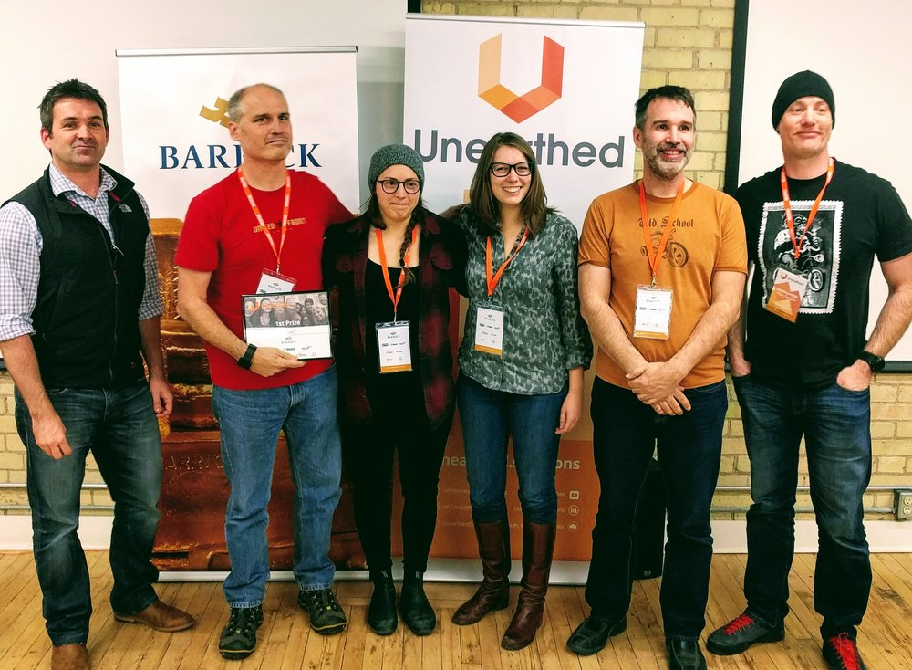 The winners of the contest component of the event, BGC Engineering, with Ed Humphries of Barrick (left).