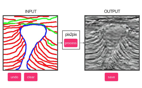 A sketch of a salt diapir penetrating geological layers (left) and the inferred seismic expression, generated by the neural network. In principal, the model could also be trained to work in the other direction.