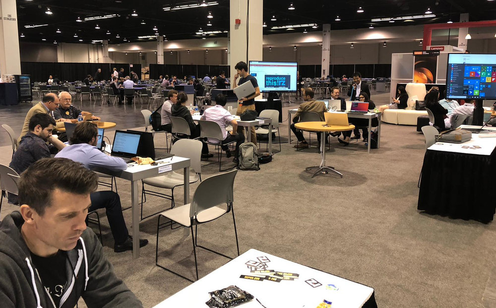 The scene at the Repro Zoo. An air of quiet productivity hung over the booth. Yes, that is Sergey Fomel and Jon Claerbout. Thank you to David Holmes of Dell EMC for the picture.