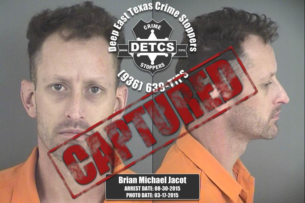 UPDATED 09/30/2015: Angelina County Sheriff's Deputies, acting on an anonymous tip, arrestedBrian Michael Jacot. Jacot, a 37-year-old white male, was wanted on a felony probation warrant related to his arrest and conviction for Driving While Intoxicated (with at least two prior convictions). Jail records indicate that since 1999 Jacots has been arrested multiple times in Angelina County for Assault, Criminal Mischief, DWI, Parole Violation, and Theft.