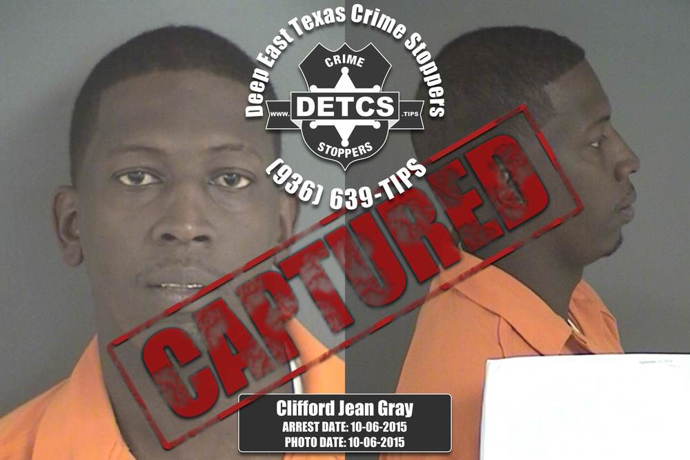 UPDATED 10/06/2015: After seeing himself profiled as a Crime Stoppers wanted person,Clifford Jean Gray contacted a member of theAngelina County CSCD Warrant Team and made arrangements to surrender. Gray, a 30-year-old black male, was wanted on a felony probation warrant related to his arrest and conviction for Possession of a Controlled Substance. Jail records indicate that since 2002 Gray has been arrested multiple times in Angelina County for Escape while Arrested, False Report, Manufacture or Deliver a Controlled Substance, Parole Violation, Possession of a Controlled Substance, and Theft.