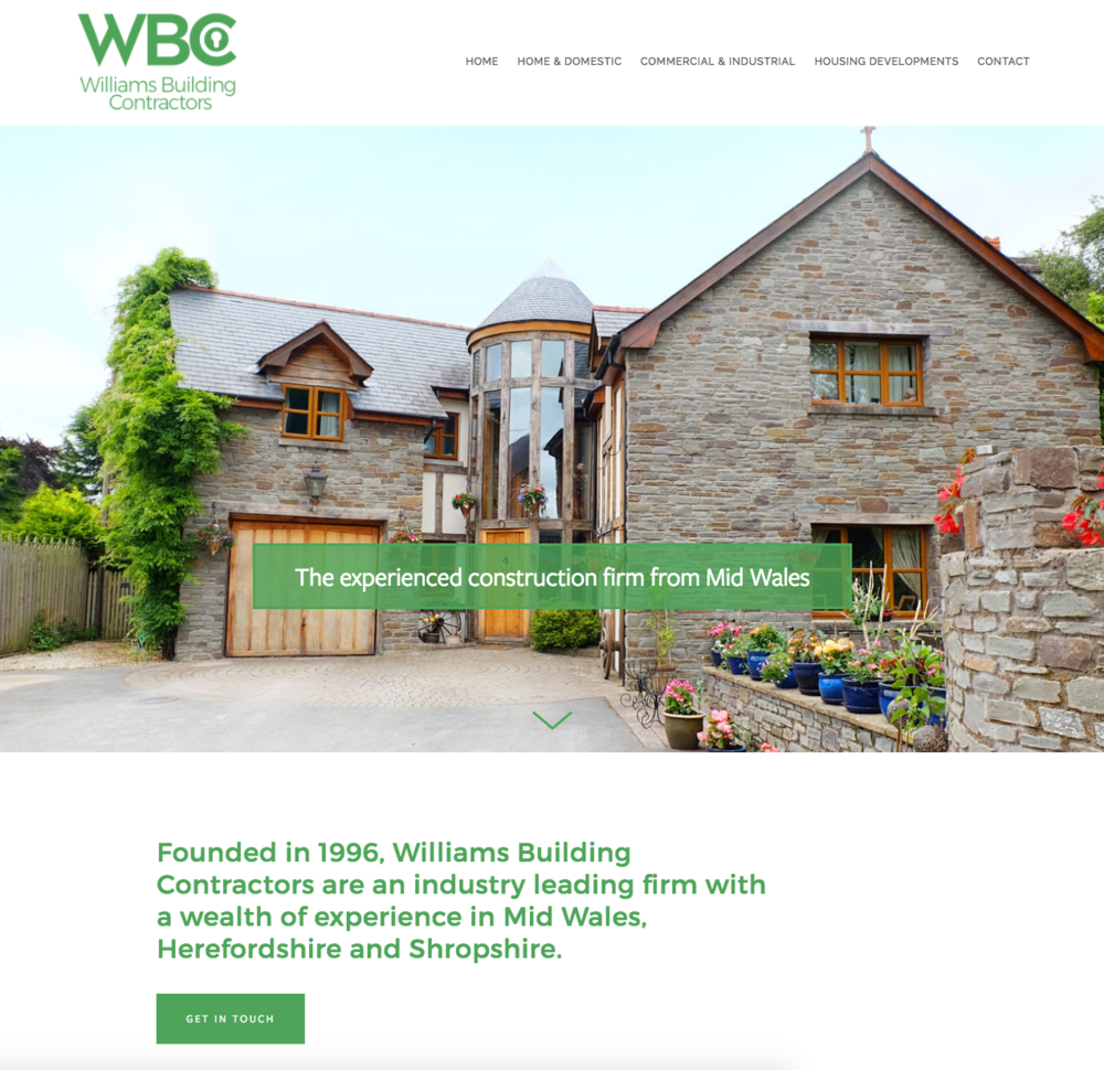 Web design project: Williams Building Contractors