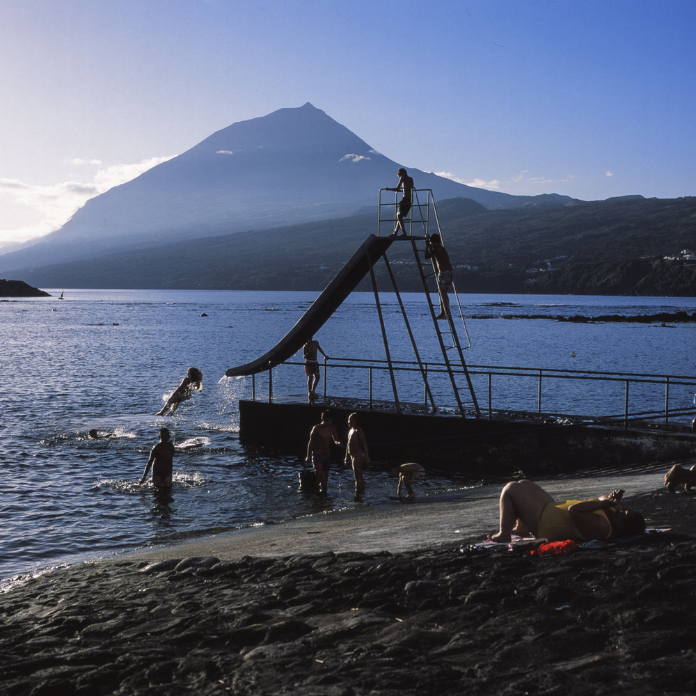 Nautical Club in Lages do Pico. Formerly used as a dock for whaling boats to depart from, it is now used as recreational area overlooking the mountain of Pico.