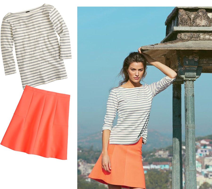 Jcrew passage to inda, jcrew style guide, june, jcrew stripe, grey stripe t-shirt