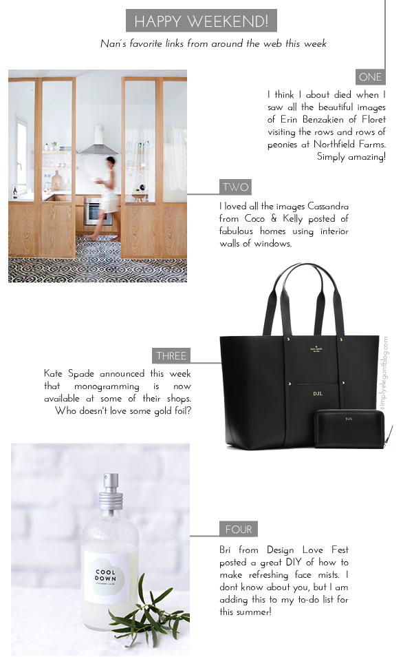 Blogger Weekend Favorites, Coco & Kelly windows, Kate Spade monograming, DIY, Design Love Fest face mist, Peony Farm,