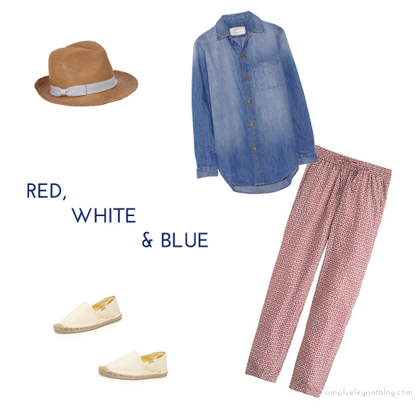 Current/Elliot Denim Shirt, J.Crew Drawstring Pant, Soludos Canvas Espadrilles, Panama Hat