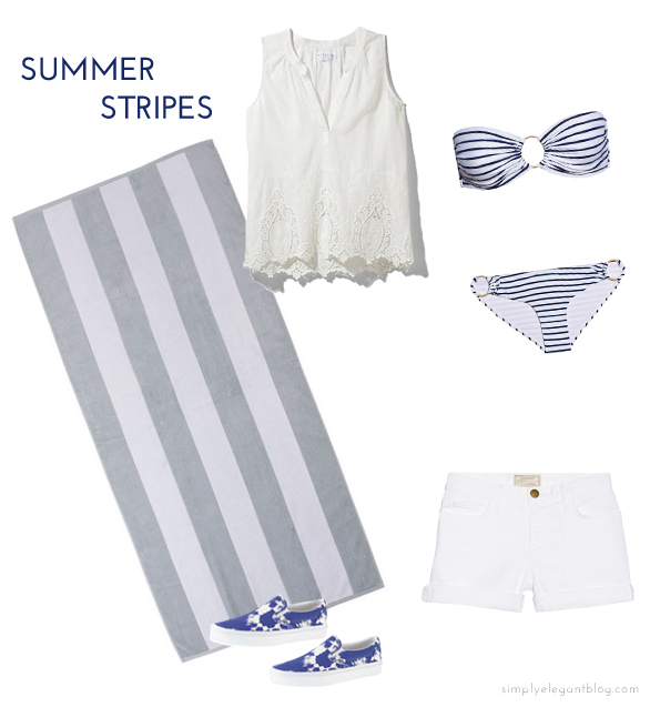 Velvet Eyelet Top, Melissa Odabash Striped Bikini, Current/Elliot Boyfriend Denim Short, J.Crew Vans, Chance Beach Towel, Simply Elegant Blog