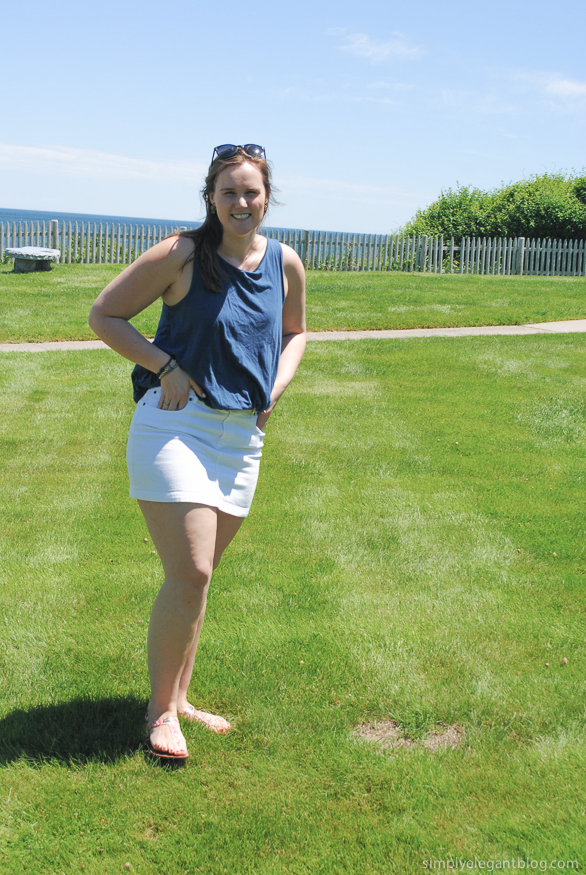 Blue and White Outfit, Kate Spade Saturday Trapeze Top, Summer Blogger Fashion, Maine Shopping