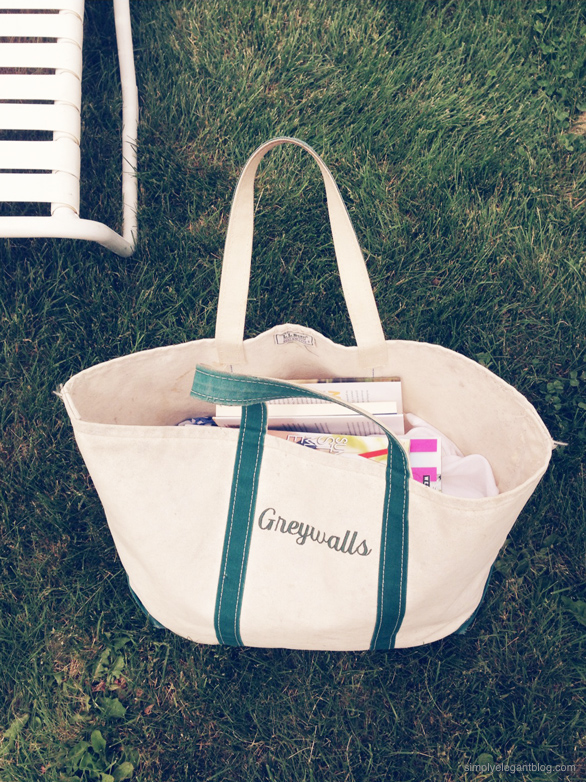 Day at the pool with LL Bean tote, beach bag, summer boston blogger