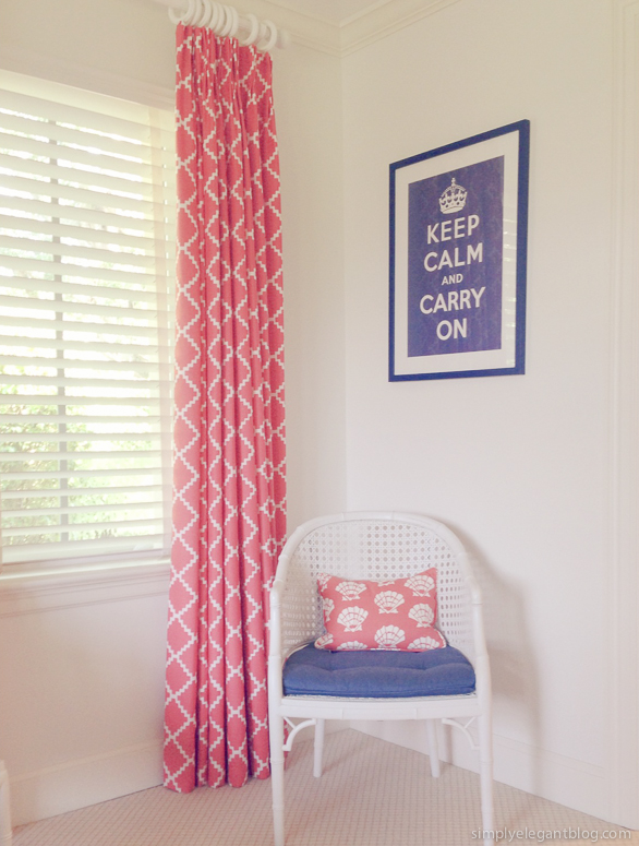 interior design, keep calm and cary on, luludk fabric, florida home