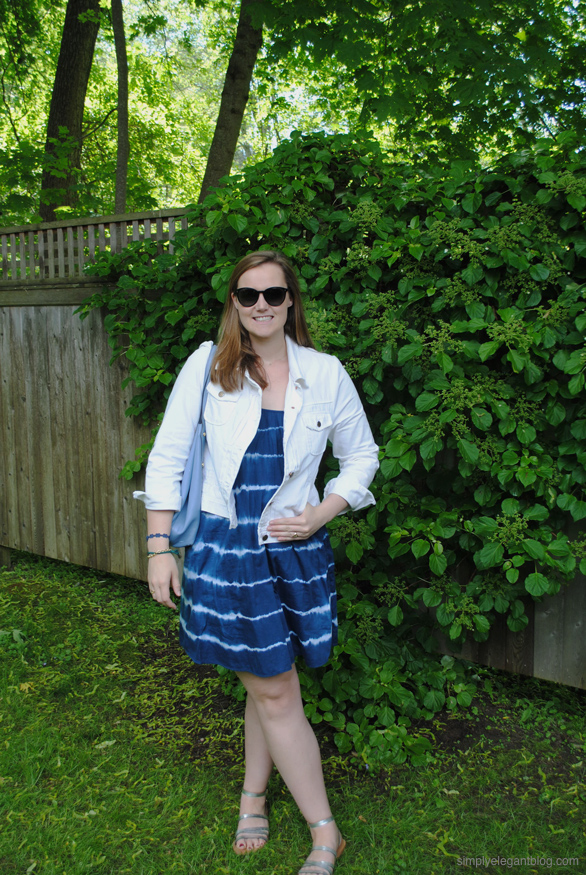 Madewell backyard sundress in indigo, Simply Elegant Blog Fashion, Summer Outfit,  J.Crew White Denim Jacket, College Fashion, New England Lifestyle,