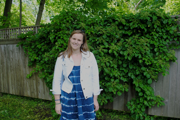 Madewell backyard sundress in indigo, Summer Outfit,  J.Crew White Denim Jacket, College Fashion, New England Lifestyle,