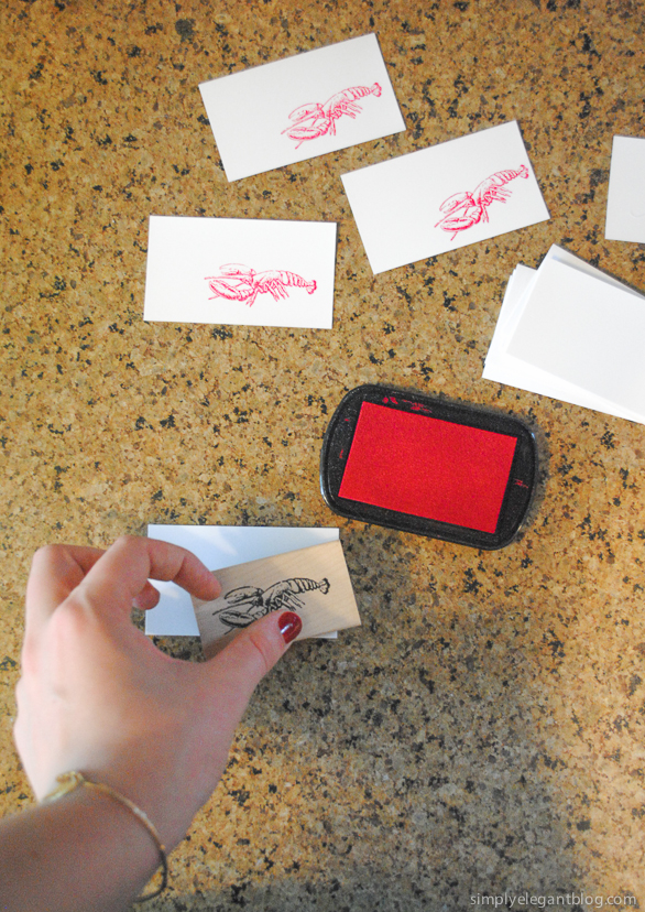 diy stamp place card, lobster place card, paper source stamp, lobster