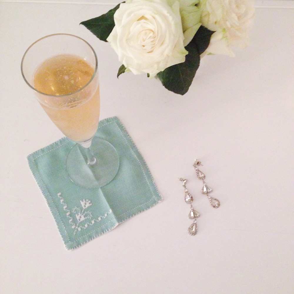 Champagne  and  some  sparkly  statement  earrings