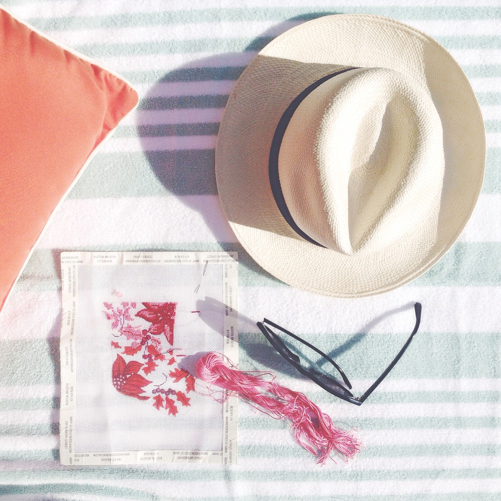 needlepoint  by  the  pool  ( Sun Hat,  Sunglasses)