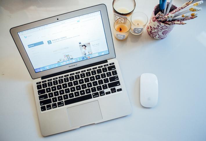 MY DESK:   MacBook Air,   Wireless Mouse,  Diptyque Mimosa,   Diptyque Jasmin,   Diptyque Gardenia,  Il Papiro Pen Holder.