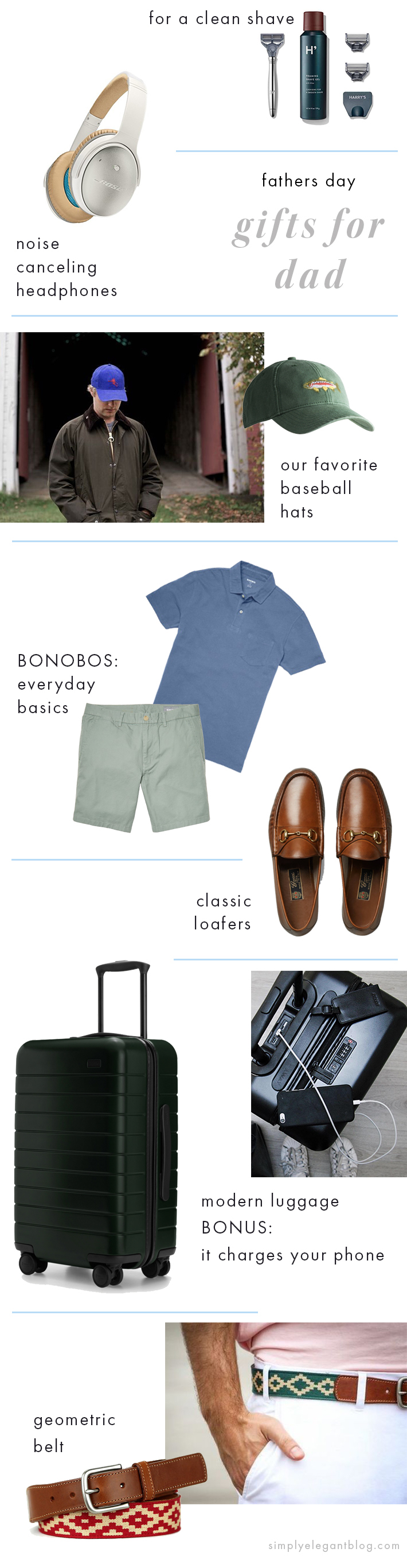 fathers day gift ideas - away suitcase, harding lane hat, la matera belt