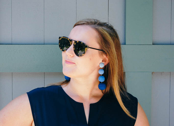 blue statement earrings. les bonbons.