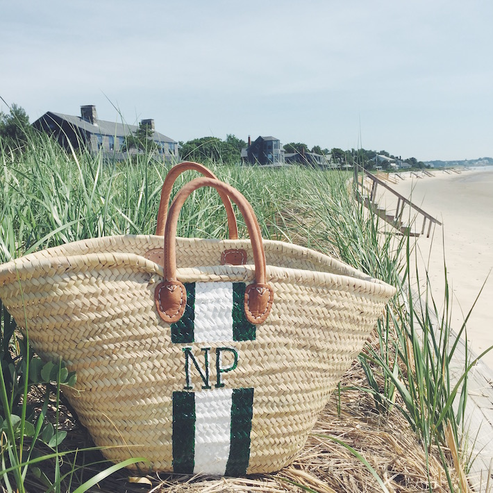 monogramed straw beach bag