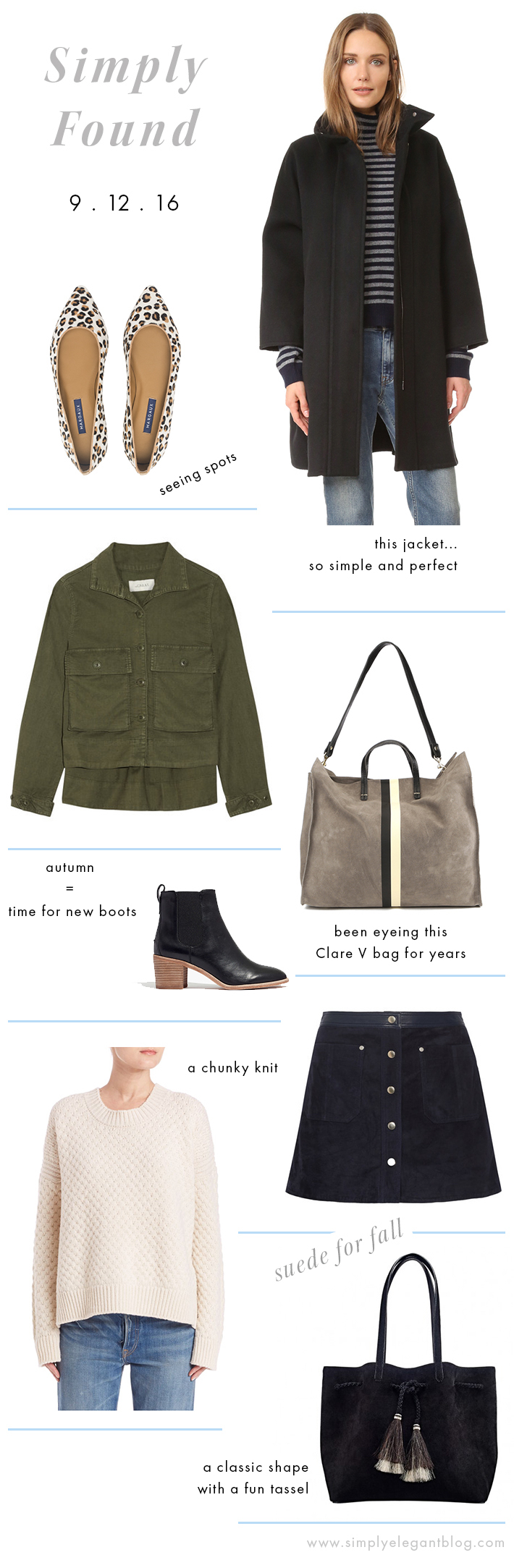 Shopping Wish List for Fall - Vince Wool Jacket, The Great Jacket and Clare V Bag.