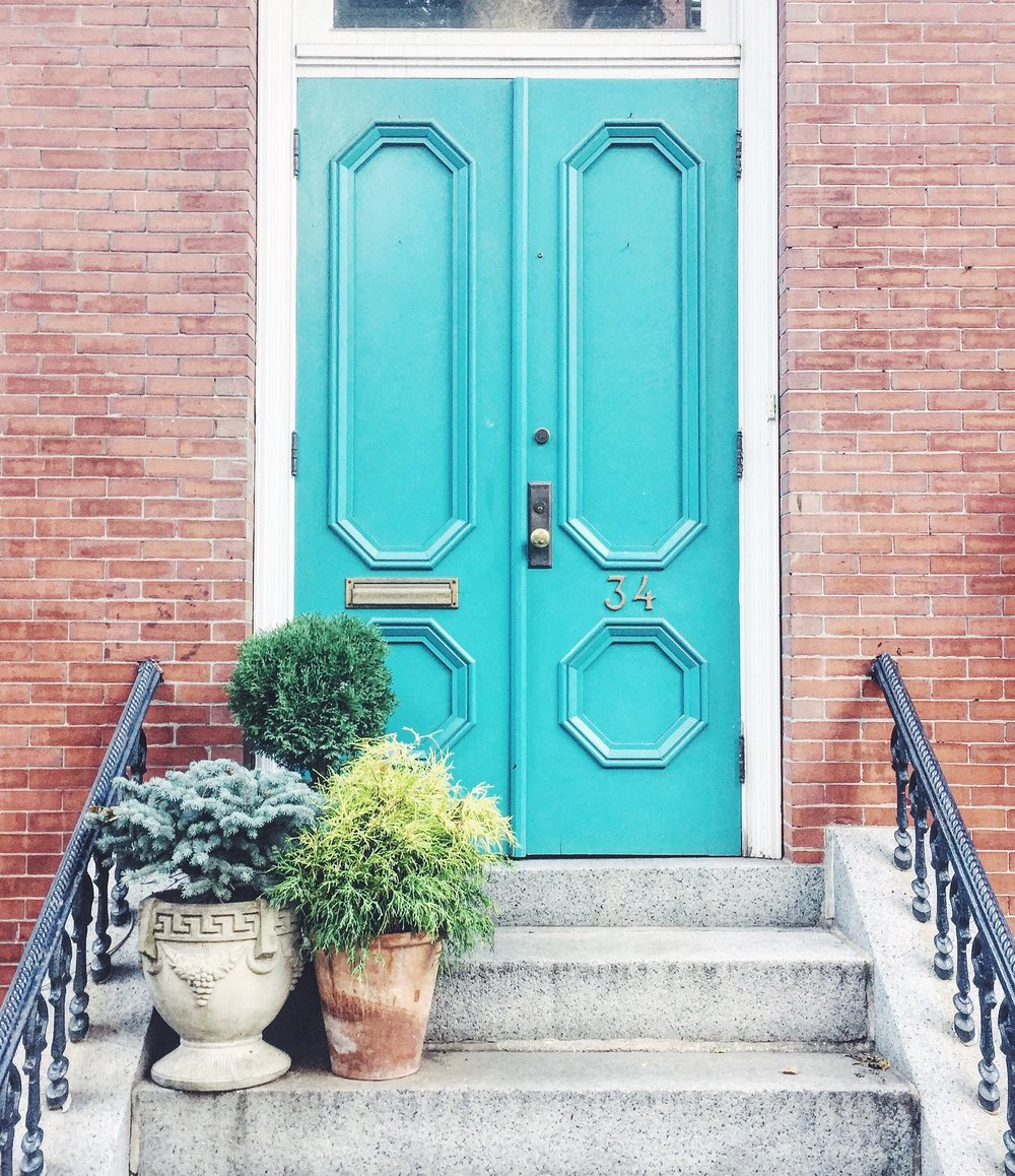 Boston Brownstone - Blue Front Door