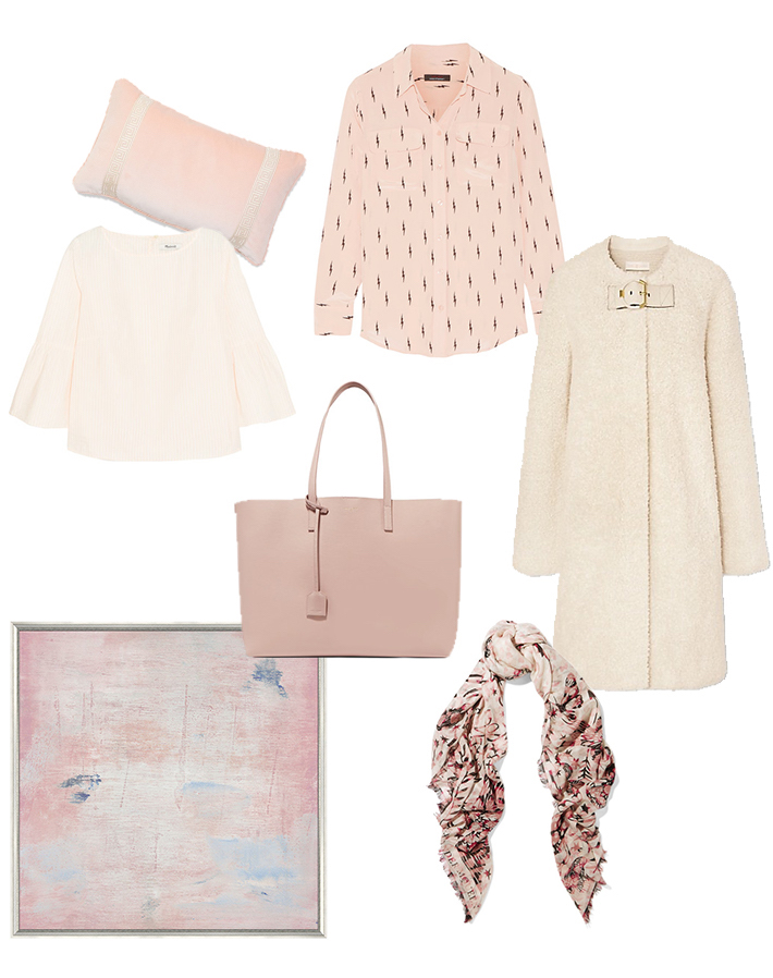 blush hues - Saint Laurent Tote. Tory Burch Buckle Tab Coat. Biscuit Home Pillow.