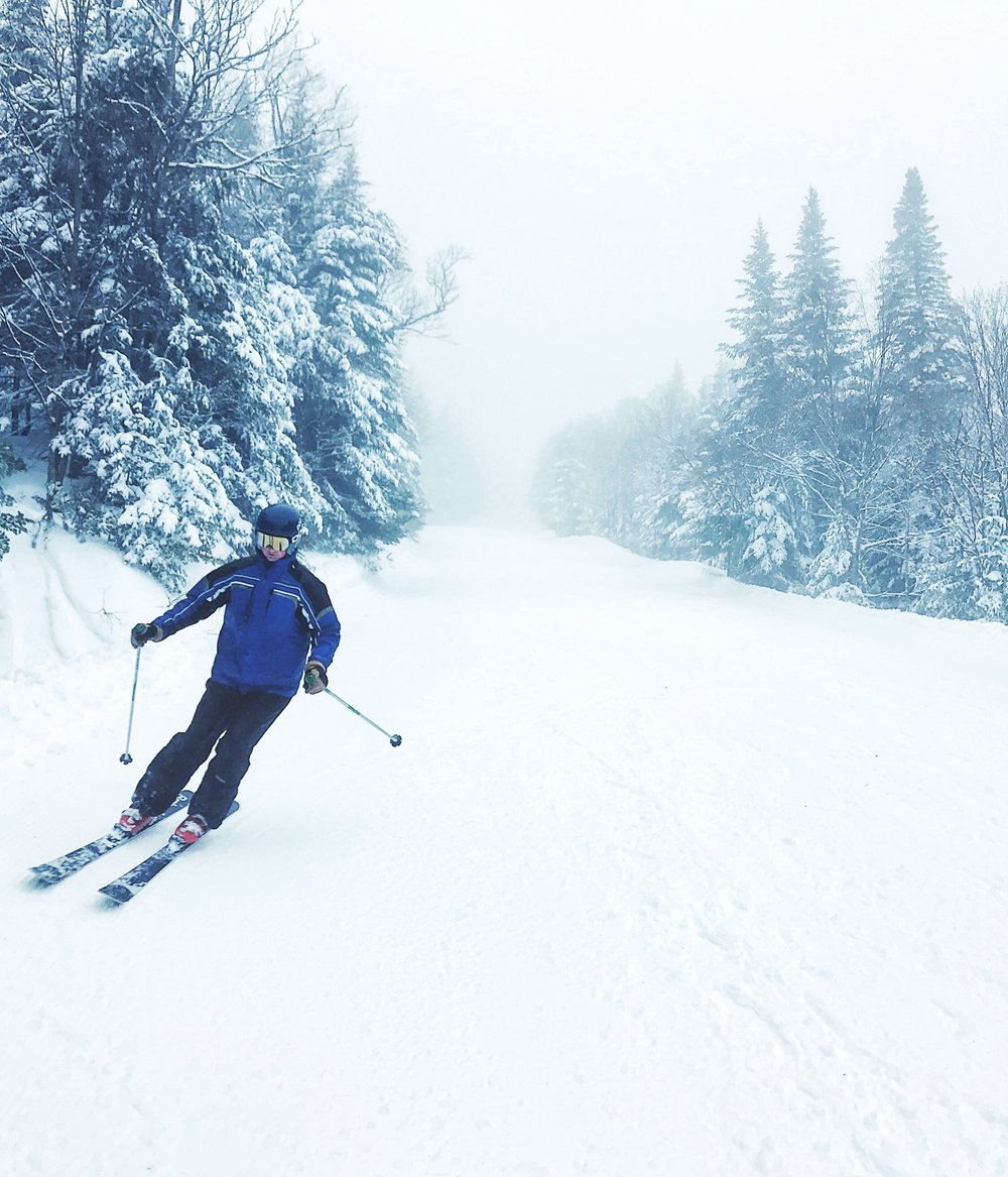 Skiing at Stowe, Vermont.