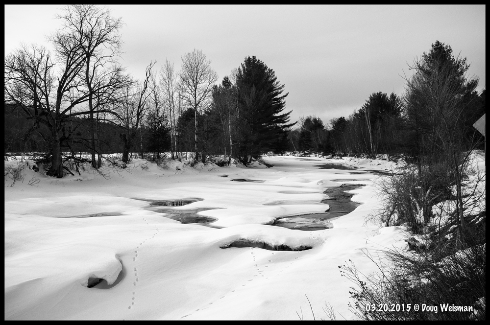 The mighty Gale River.  Still frozen.