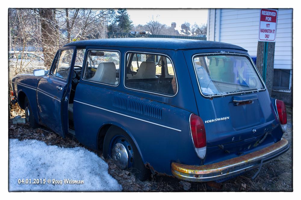 Backyard antique:  Volkswagen wagen.