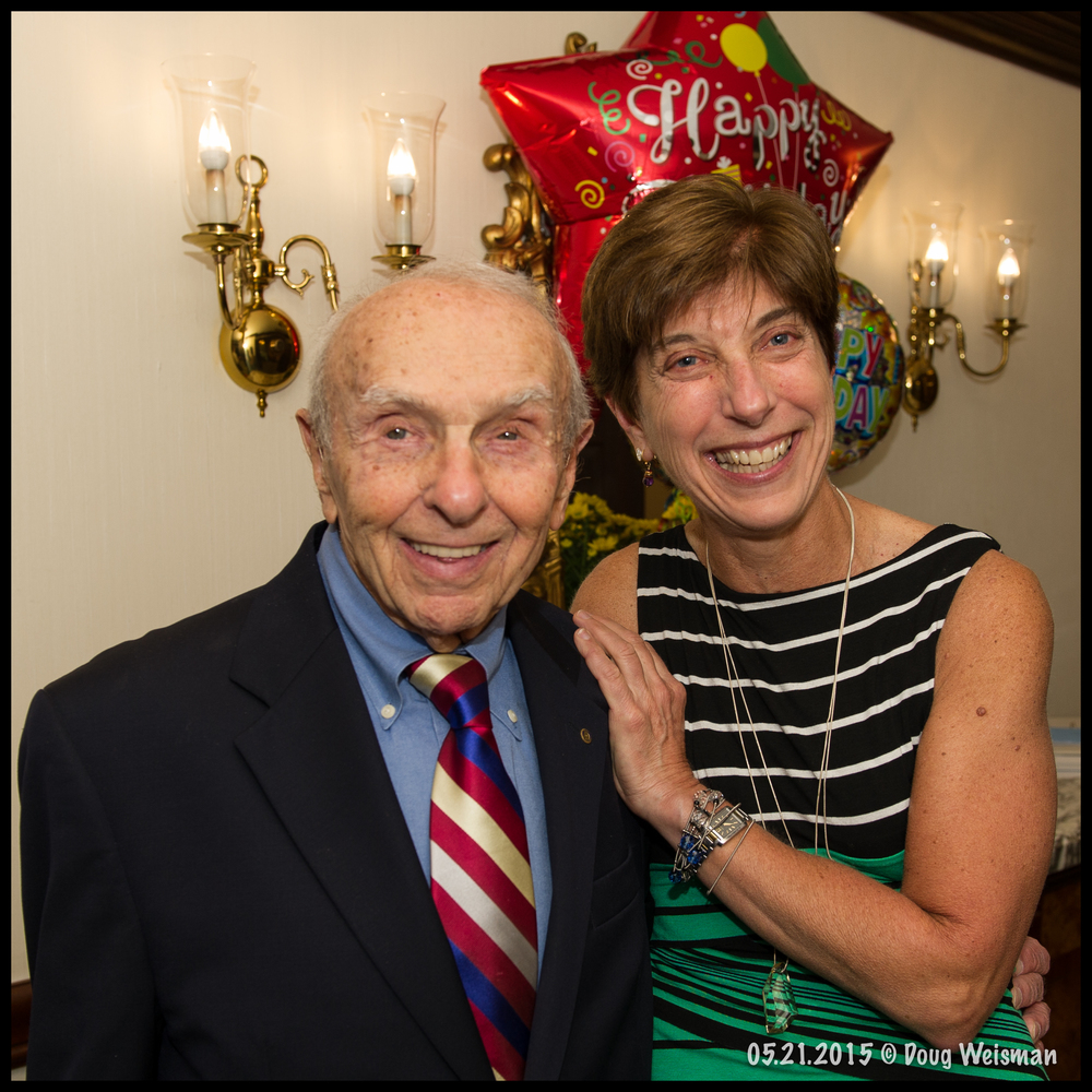 The 90-year old man w/daughter-in-law on his birthday.