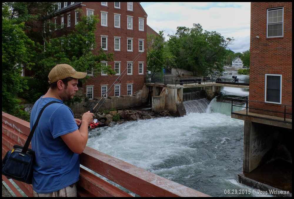 Fishing at the mill--Winnipesaukee River.