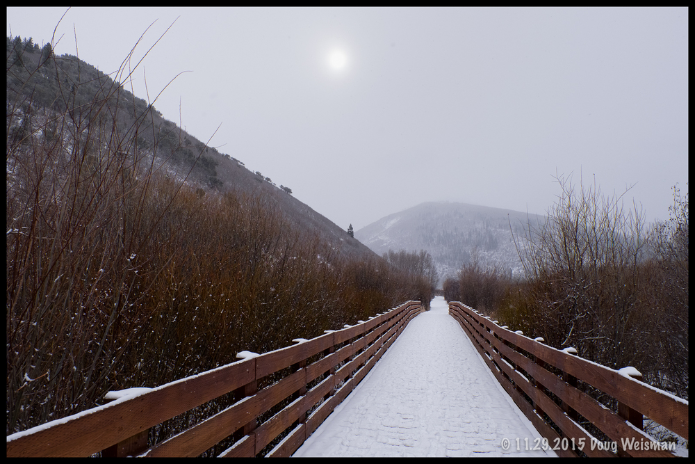 A snowy bridge.