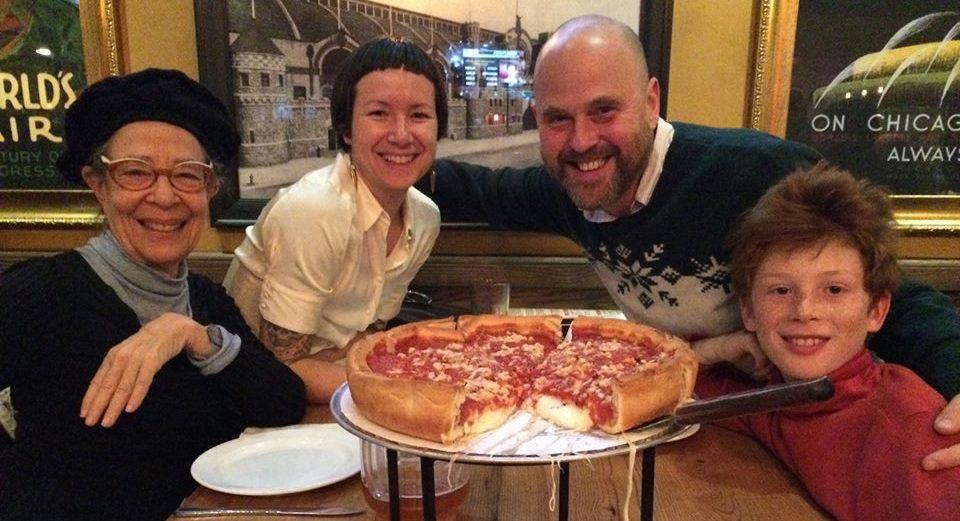Left to right:Deborah Hay, Michele Steinwald, Alva Noë, Ulysses Noë (photo credit: Pizza waitress)