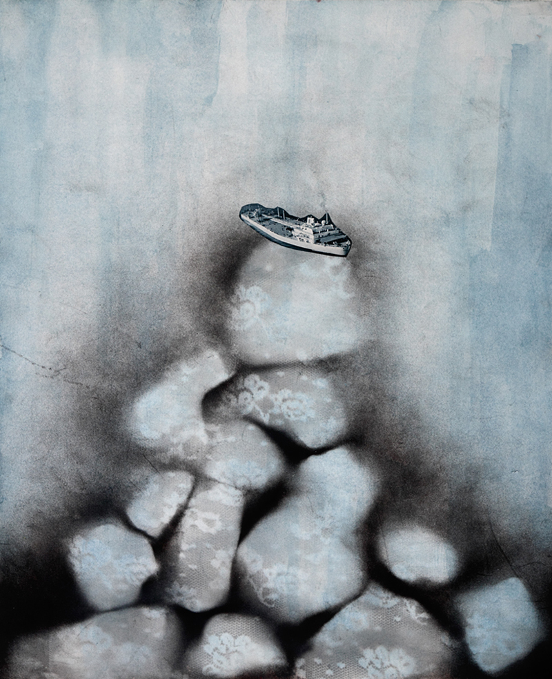 "Iceberg    2011  spray paint, ink, collage  14"" x 18"""