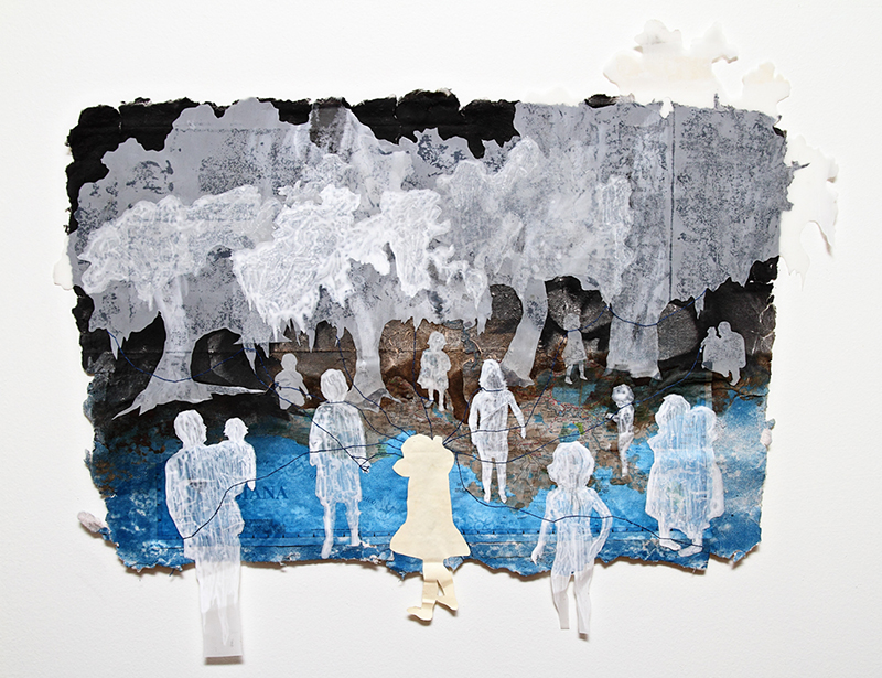 "Ghosts   2011  handmade paper, spray paint, ink, frosted mylar, collage, thread  24"" x 18""    PURCHASE"