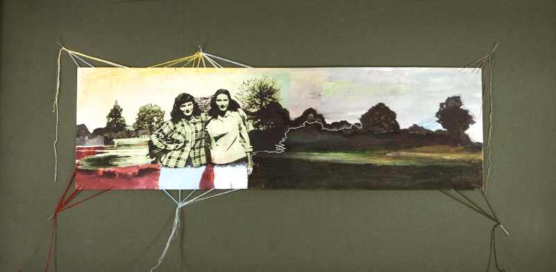 Frances and Gaye   2014  acrylic, oil pastel, ink, embroidery floss, and photo transfer on paper